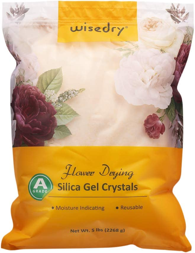 wisedry Silica Gel Flower Drying Crystals - 5 LBS, Dust Free, Color Indicating, Reusable