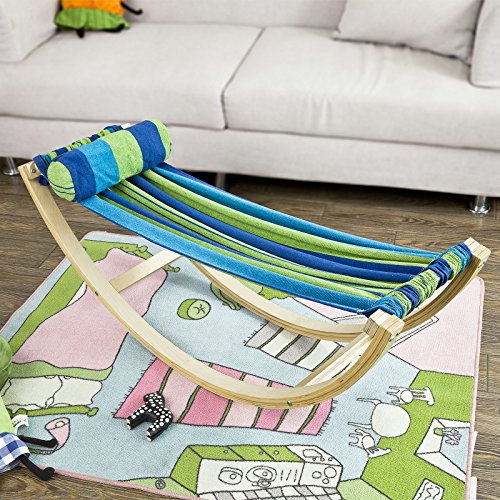 - Haotian KMB16-J,Children's Compact Rocking Hammock with with Wood Frame and Cotton Fabric - Reading, Hammock with Printed Carry Bag