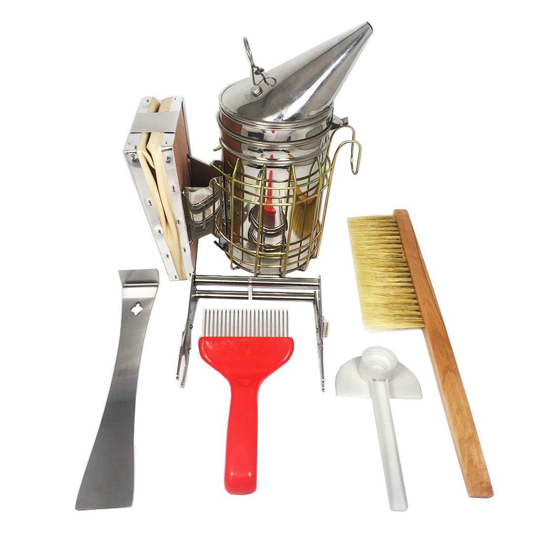 NAVAdeal Set of 6 Beekeeping Tools Starter Kit - Stainless Steel Bee Hive Smoker, Uncapping Fork Scratcher, Scraper, Brush, Feeder, Frame Grip - Great Handy Functional Equipment for Beekeeper Beginner by NAVADEAL