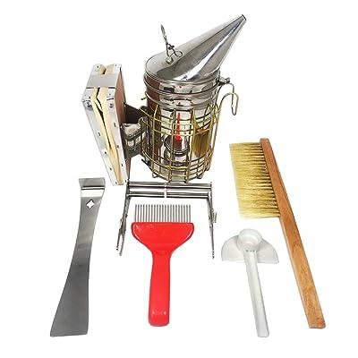 NAVAdeal Set of 6 Beekeeping Tools Starter Kit - Stainless Steel Bee Hive Smoker, Uncapping Fork Scratcher, Scraper, Brush, Feeder, Frame Grip - Great Handy Functional Equipment for Beekeeper Beginner