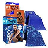 KT Tape PRO Synthetic Kinesiology Tape Two-Roll Bundles - 40 Count Precut I-Strips - Ice Crystal & Sonic Blue