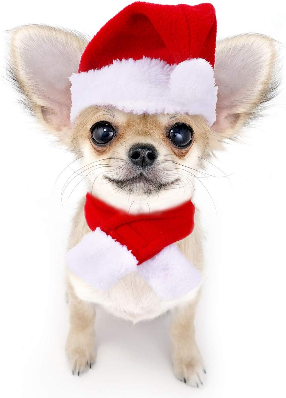 Mantel Haustier Justierbare Weihnachtssankt Hut Schal und Kragen Fliege Weihnachtskost/üm f/ür Welpen K/ätzchen Kleine Katzen Hunde Haustiere