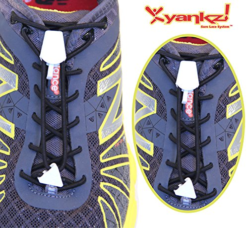 Ibungee Laces - Yankz Surelace Elastic Shoe Laces, 2 point system to lock your laces (No Tie) (Black Laces with White Locks)