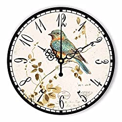 Wenxuan 12 Retro Vintage Bird French Country Tuscan Style Non-Ticking Silent Wooden Wall Clock