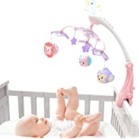 GrowthPic Musical Baby Crib Mobile with Star Projector Nursery Function, Foldable Arm, Hanging Rotating Infant Playing Teether and Loudspeaker with 30 Melodies