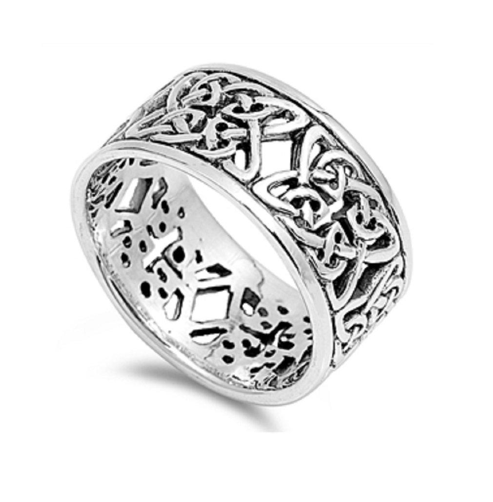 925 Sterling Silver Celtic Wicca Designer Band Ring Size 11