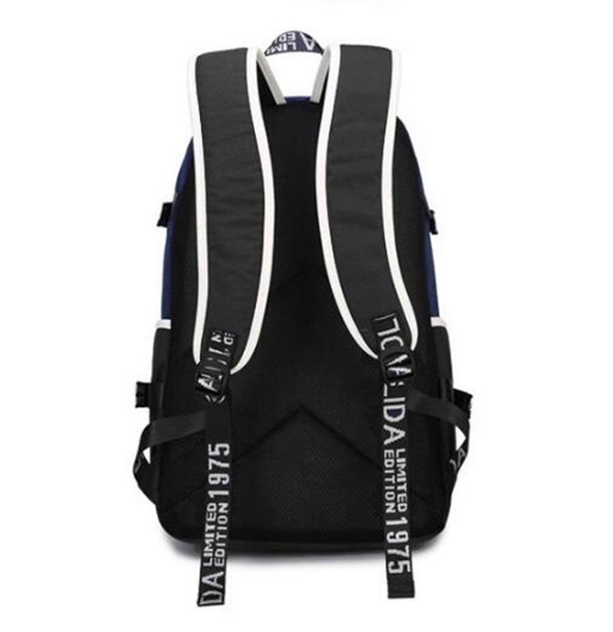 JUSTGOGO Luminous Korean Casual Daypack Laptop Bag College Bag Book Bag School Bag Backpack (Black 1) by JUSTGOGO (Image #3)