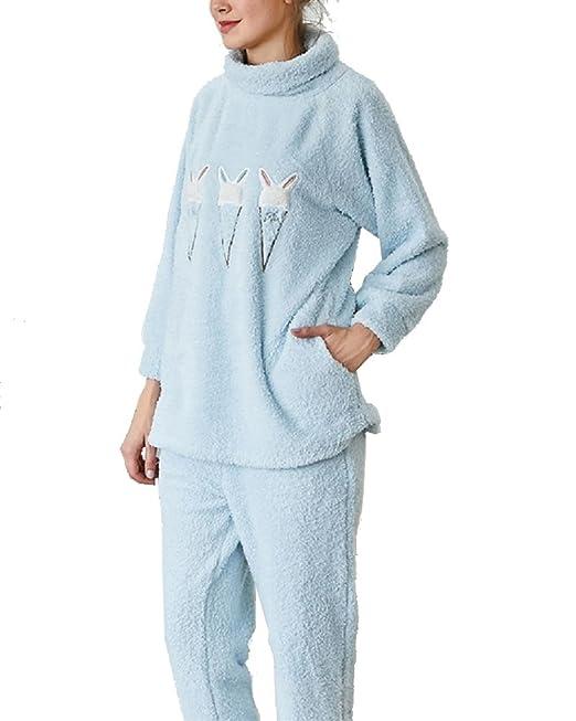 Conjunto de Pijama - Manga Larga - Pijamas de Bordado de Conejo para Mujer: Amazon.es: Ropa y accesorios