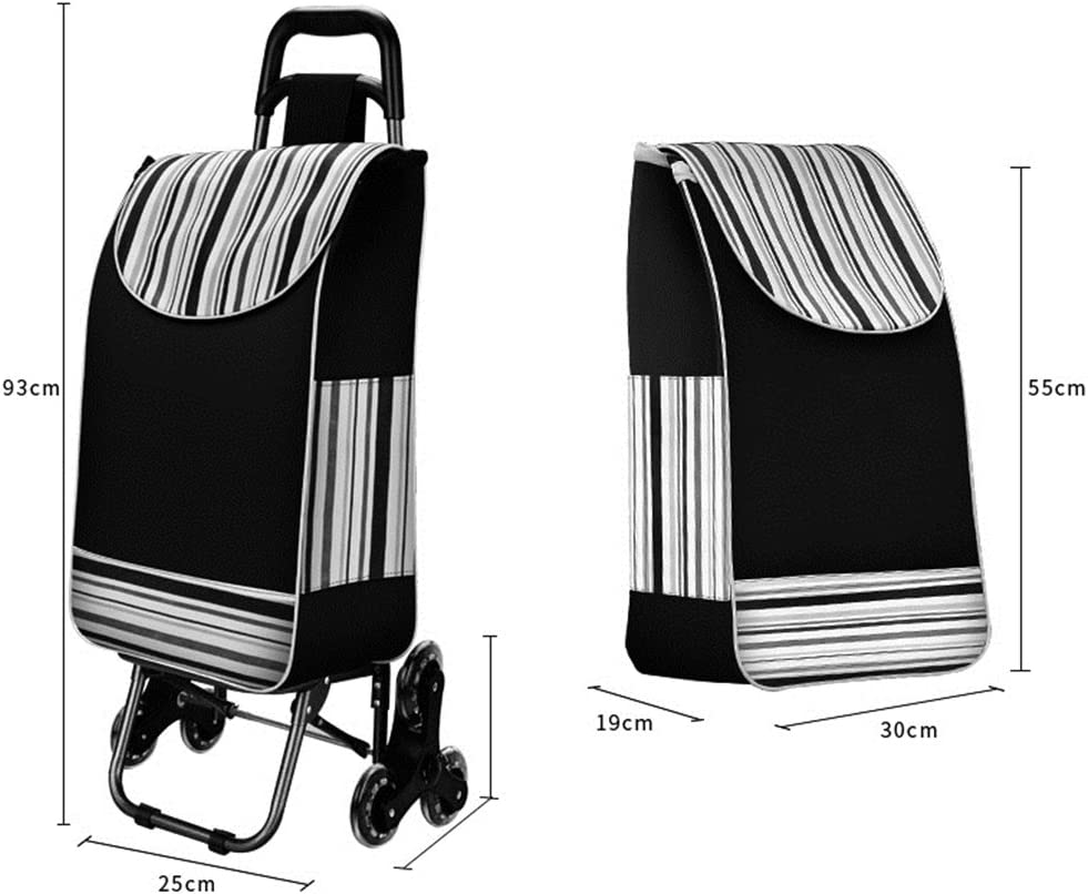 Color : A FeiQiangQiang Stairs Shopping Cart Shopping Cart Trolley Folding Portable Padded Waterproof Bag PU Crystal Wheeled Trolley Car Small Trailer Trolley Car Home Shopping Supplies