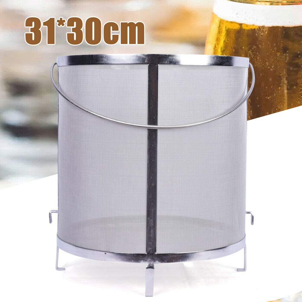 Beer Hopper Filter, 300 Micron Mesh Stainless Steel Hop Strainer Cartridge with Handle Use for Homebrew Hops Beer and Tea