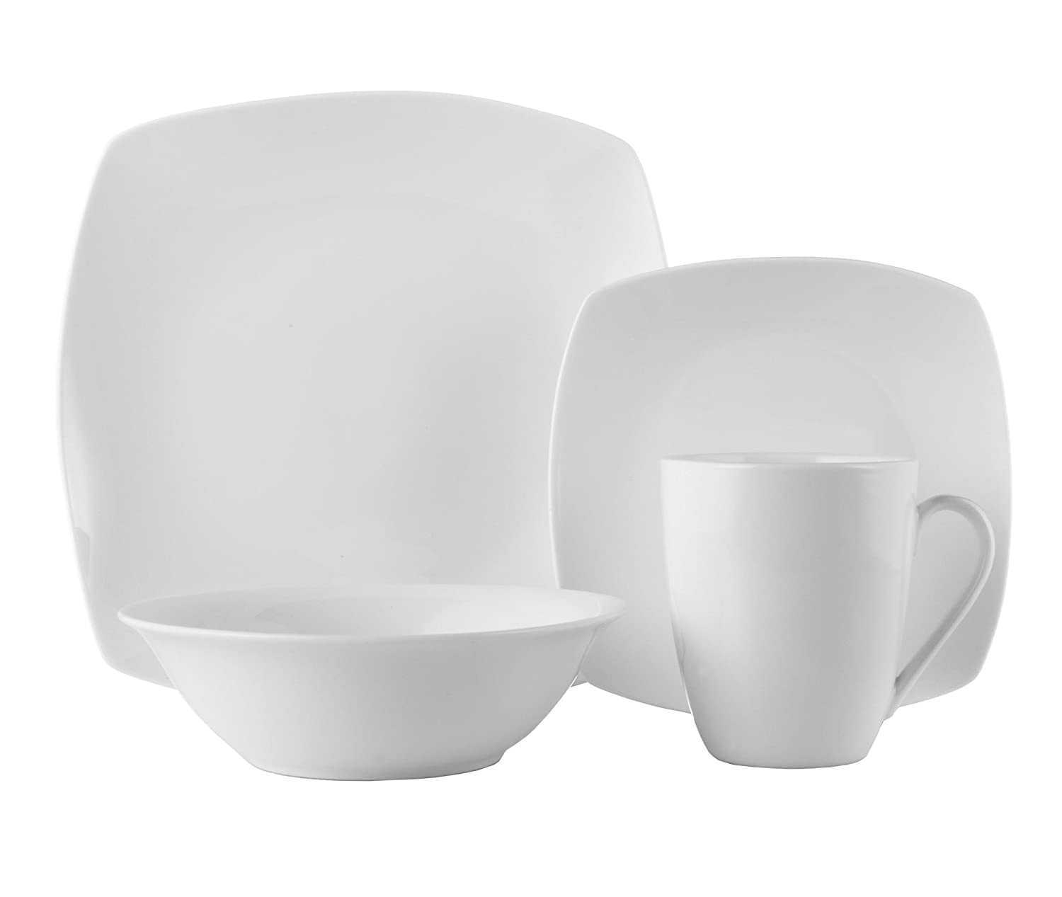 ROSCHER Dinnerware Dish Set (16-Piece) White, Ceramic Soft Square Dishes | Dinner and Salad Plates, Appetizer Bowls, Drink Mugs | Modern Kitchen Style | Dishwasher Safe 80259