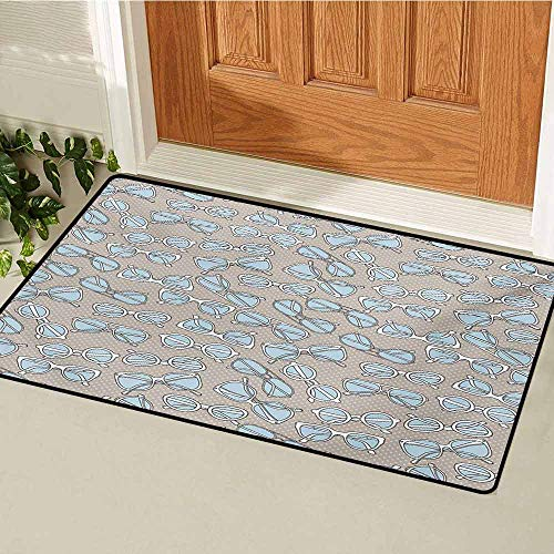 (GUUVOR Retro Front Door mat Carpet Vintage Hipster Glasses Pattern on Polka Dots Backdrop Eyesight Optic Design Machine Washable Door mat W23.6 x L35.4 Inch Pale Blue Tan White)