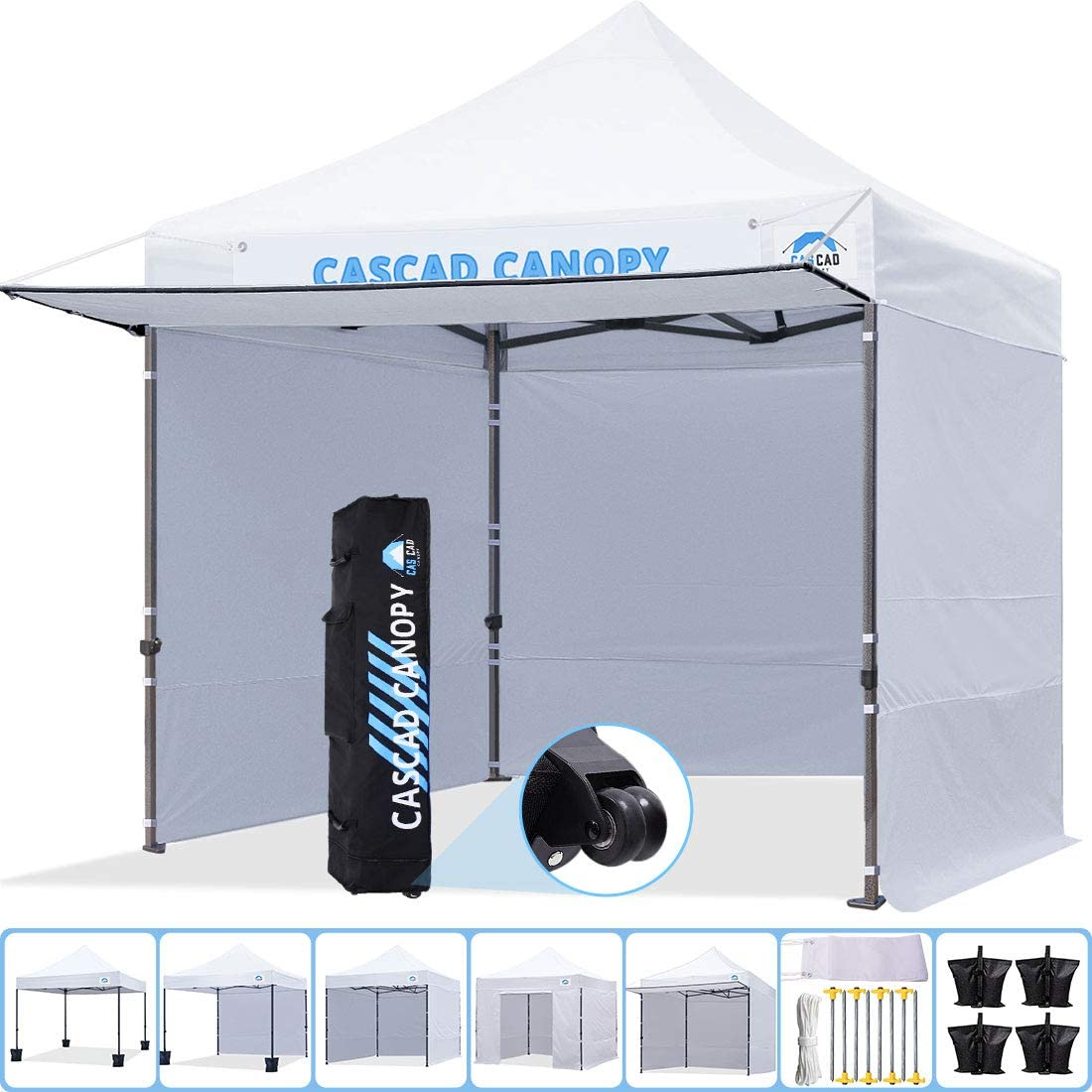 CASCAD CANOPY 10 x10 Ez Pop-Up Canopy Commercial Instant Tent Shelter with DIY Banner, Heavy Duty Roller Bag, 4 Removable Sidewalls, 1 Canopy Awning, 4 Sandbags,White