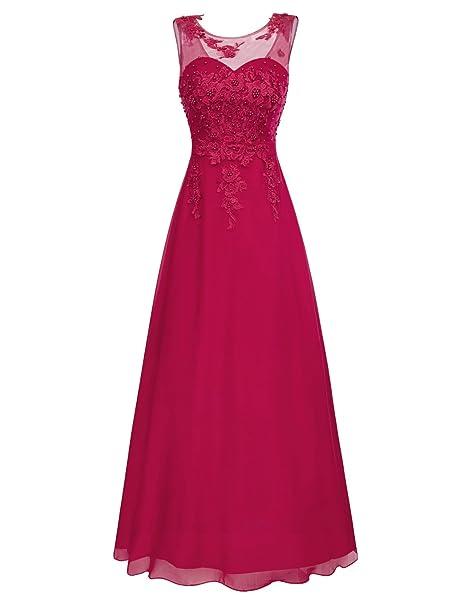 Mujer Vestido Vino Elegante para Novia Vestido de Fiesta para Boda Dama de Honor Prom Talla