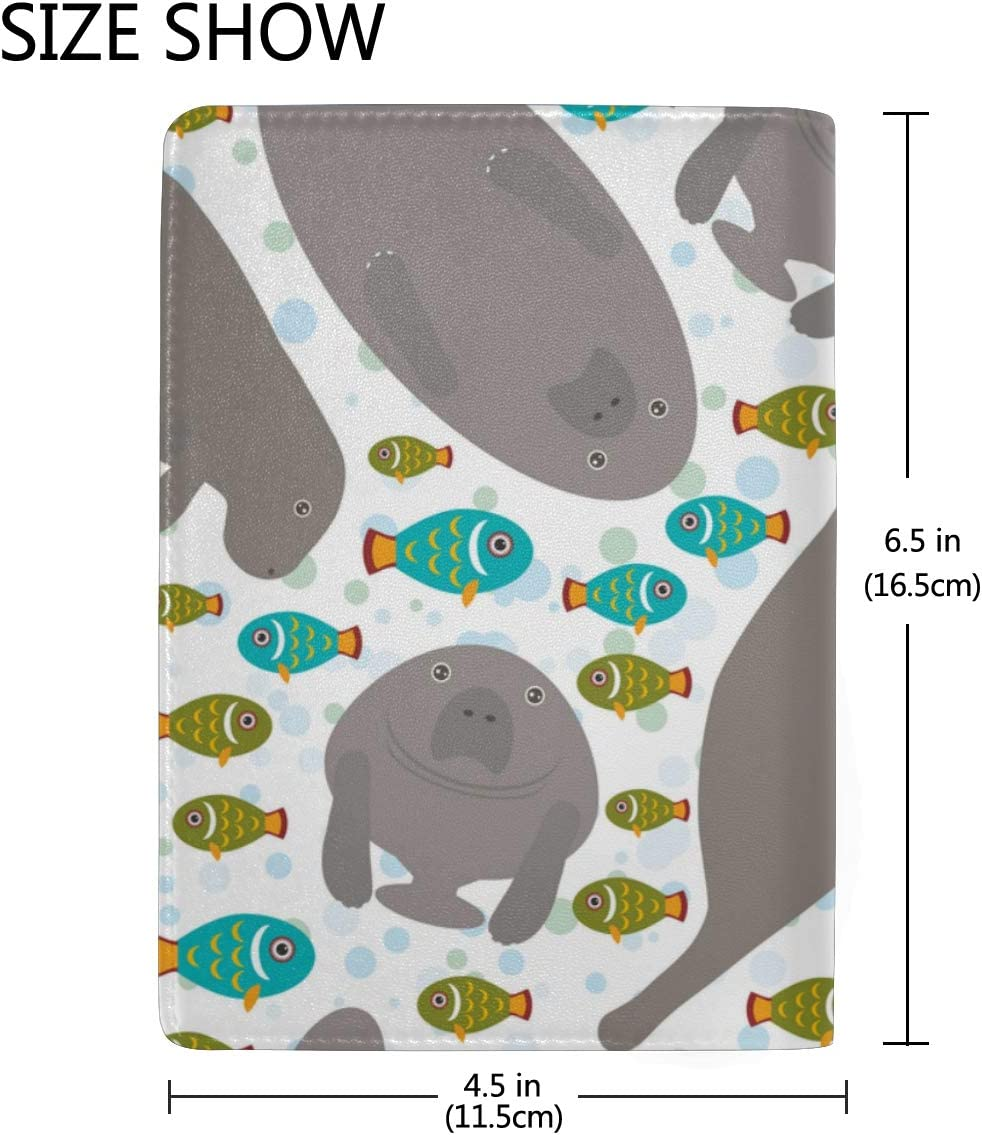 Seals And Manatees Silhouette Waves Blocking Print Passport Holder Cover Case Travel Luggage Passport Wallet Card Holder Made With Leather For Men Women Kids Family