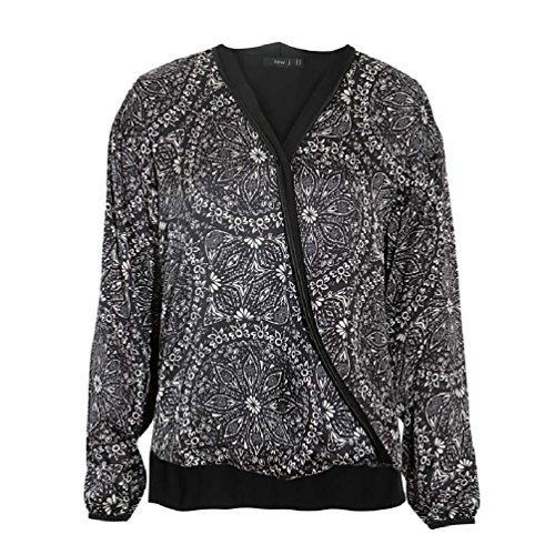 New Printed J Black Polyester Blouse Women's ZZBwr4