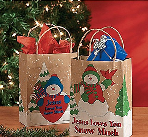 12 Jesus Loves You Snow Much Winter Christmas Holidays Snowman Gift Bags