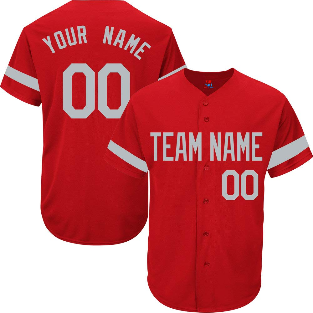 Red Custom Baseball Jersey for Men Big and Tall Practice Personalized Your Name & Numbers,Gray Striped Size 8XL by Pullonsy