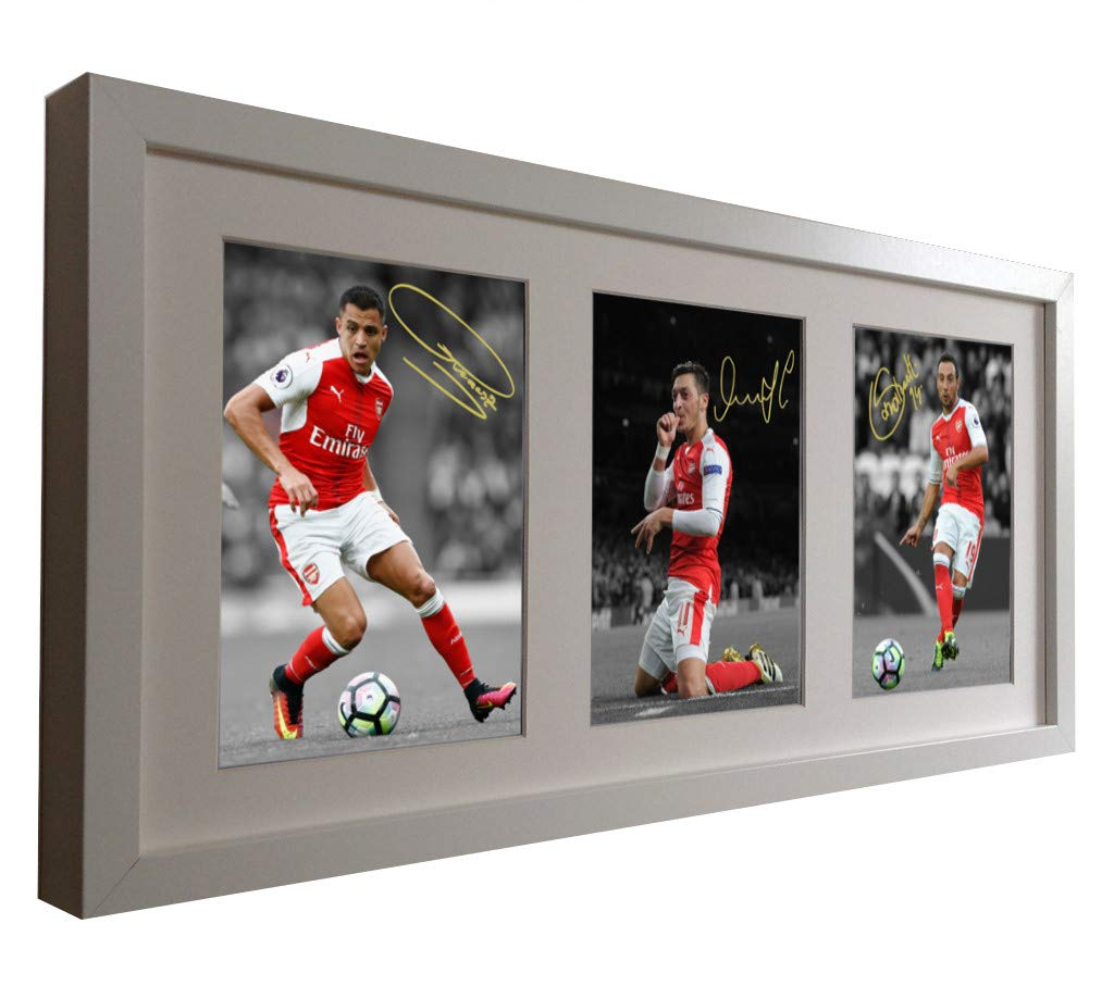 3952d636a White Signed 2016-17 Arsenal Triple Picture Alexis Sanchez Mesut Ozil Santi  Cazorla Photo Photograph Picture Frame Autographed  Amazon.co.uk  Kitchen    Home