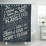 VaryHome Shower Curtain I Know the Plans Have You Declares Lord to Prosper and Not Harm Give Hope Future Bible Quote Jeremiah Waterproof Polyester Fabric 60 x 72 Inches Set with Hooks