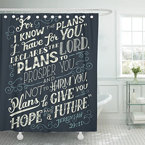 VaryHome Shower Curtain I Know the Plans Have You Declares Lord to Prosper and Not Harm Give Hope Future Bible Quote Jeremiah Waterproof Polyester Fabric 60 x 72 Inches Set with Hooks by VaryHome