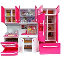 Elektra Modern Kitchen Toy Set, Battery Operated Play Set with Refrigerator, Accessories, Fruits, Music and Lights, Pretend Play Toy (18X12 Inches)