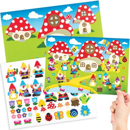 Sticker Gnomes - Baker Ross Gnome Sticker Scenes for Children to Make and Display - Creative Craft Set for Kids (Pack of 4)