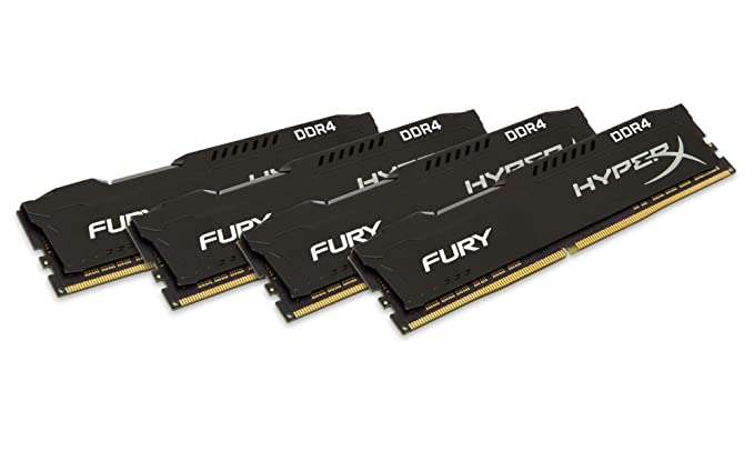 HyperX Fury - Memoria RAM de 64 GB (DDR4, Kit 4 x 16 GB, 2933 MHz, CL17, DIMM XMP, HX429C17FBK4/64) Color Negro