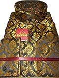 Sangi 1001 Mens Black Gold Renaissance Tall Victorian Collar Nehru Shirt (3XL)