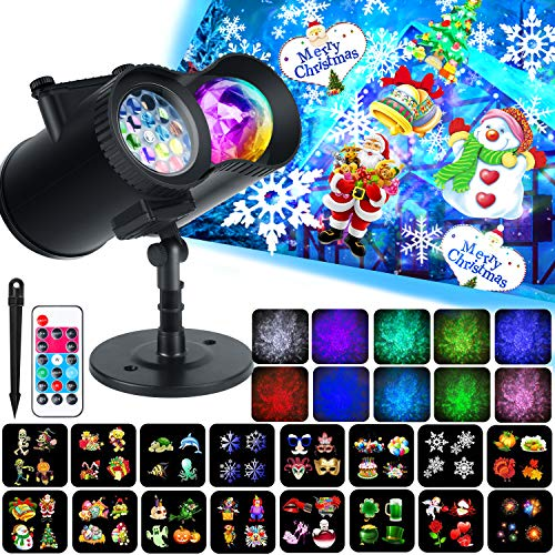 Ocean Wave Christma Projector Lights, WOSTOO 2-in-1 Decoration Water Wave Projector 16 Slides Patterns 10 Wave Colors with Remote Control, Waterproof Outdoor/Indoor Landscape, Party, Garden