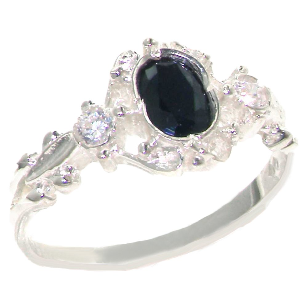 925 Sterling Silver Natural Sapphire and Diamond Womens Trilogy Ring - Sizes 4 to 12 Available