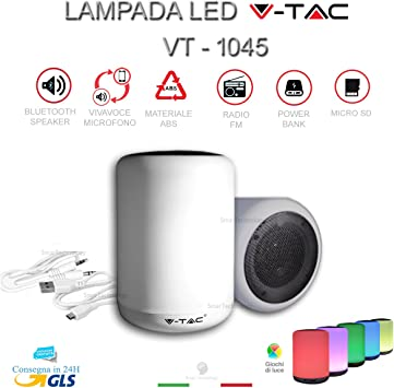 Lámpara Luz LED Multicolor Speaker Altavoz Bluetooth Radio FM V ...