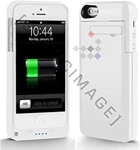 StaticTek Lightning iPhone 5 Rechargeable External Battery Full Protection Case with new 8 Pin Lightning Charging Connector - AT&T, Sprint, Verizon (WHITE) Extended Battery Power Juice Pack Case/Cover Air Plus 2200mah