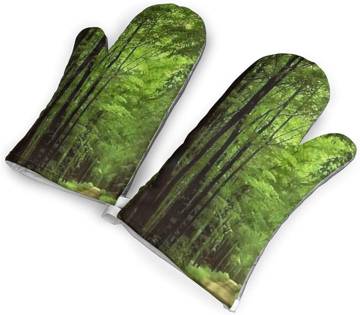 Ubnz17X Deep in The Forest Thick Green Vegetation Tree Nature Mouse Pad Mat Heat Resistant Kitchen Oven Mitts/Mitt of 1 Pair for Home Kitchen Cooking Barbecue Microwave