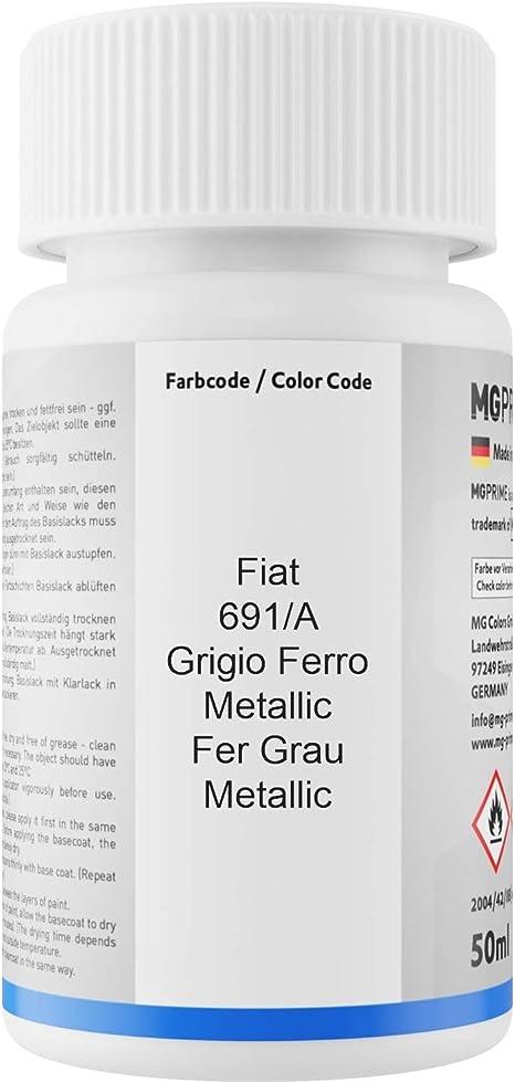 Mg Prime Autolack Lackstift Set Für Fiat 691 A Grigio Ferro Metallic Fer Grau Metallic Basislack Klarlack Je 50ml Auto