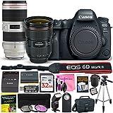 Canon EOS 6D Mark II 26.2 MP DSLR Camera (Wi-Fi) PROFESSIONAL PHOTOGRAPHER Multi-Lens Kit with EF 24-70mm f/2.8L II USM Lens, EF 70-200mm f/2.8L IS II USM Telephoto Zoom Lens & Camera Works Bundle