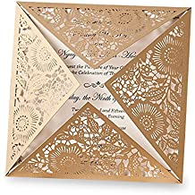 Doris Home Square Gold Laser-cut Lace Flower Pattern Wedding Invitations Cards,100pcs,CW520_GO