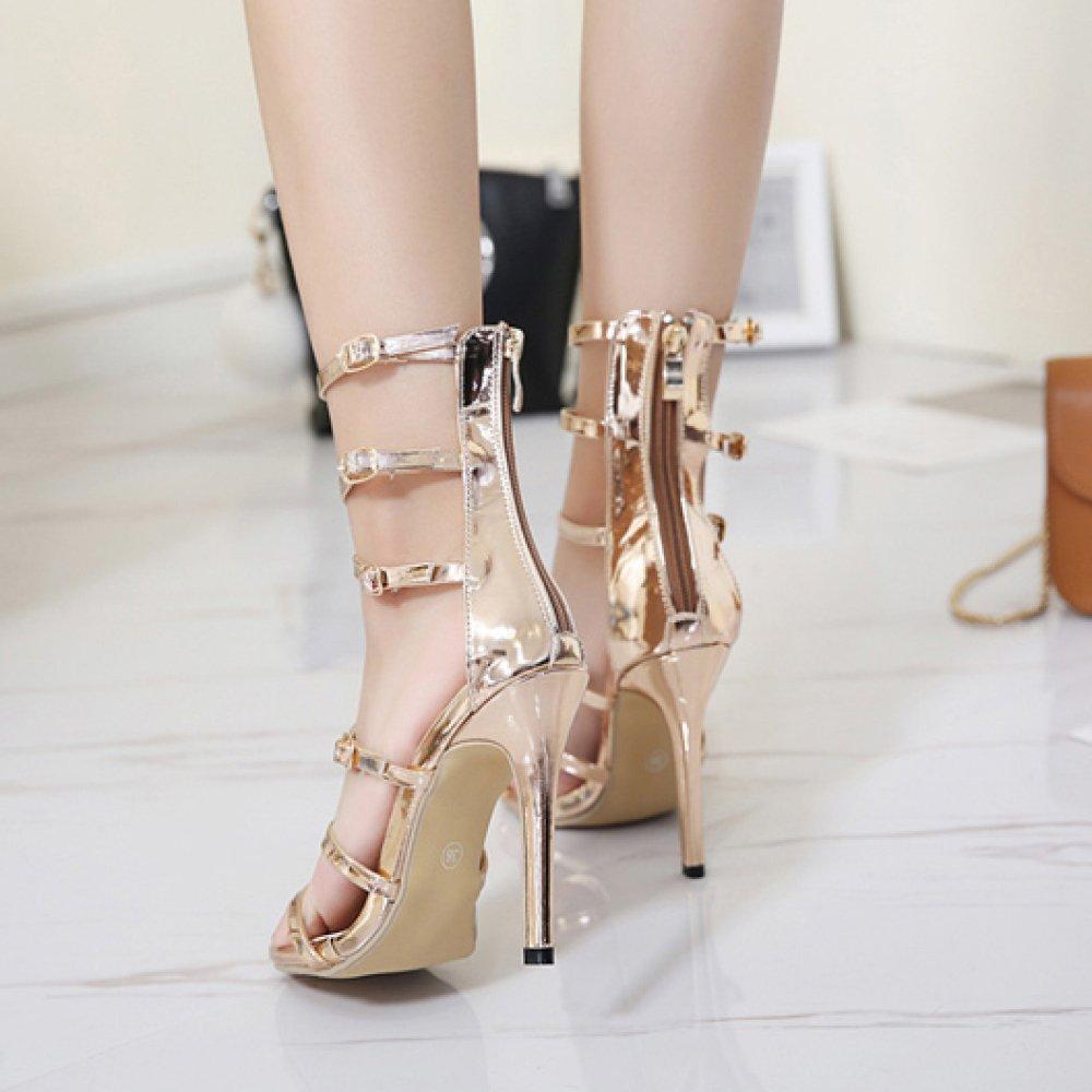 ZYQME ZYQME ZYQME Frauen Sandalen Sexy Knöchelriemen Kleid Roman Schuhe Stiletto High Heels Damen Peep Toe Schnalle Schuhe Abend Hochzeit Riemchen Pumps 49c605