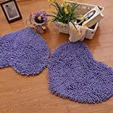 SU@DA Creative Carpet Living room Bedroom Mats Door Bathroom Anti - skid Heart-shaped Environmental protection , purple , 50*60cm