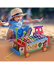 Lixada Wooden Toy Car with 8 Notes Xylophone Glockenspiel 7 Cute Animal-shaped Blocks Early Educational Toy Percussion Instrument Musical Gift for Kids Children