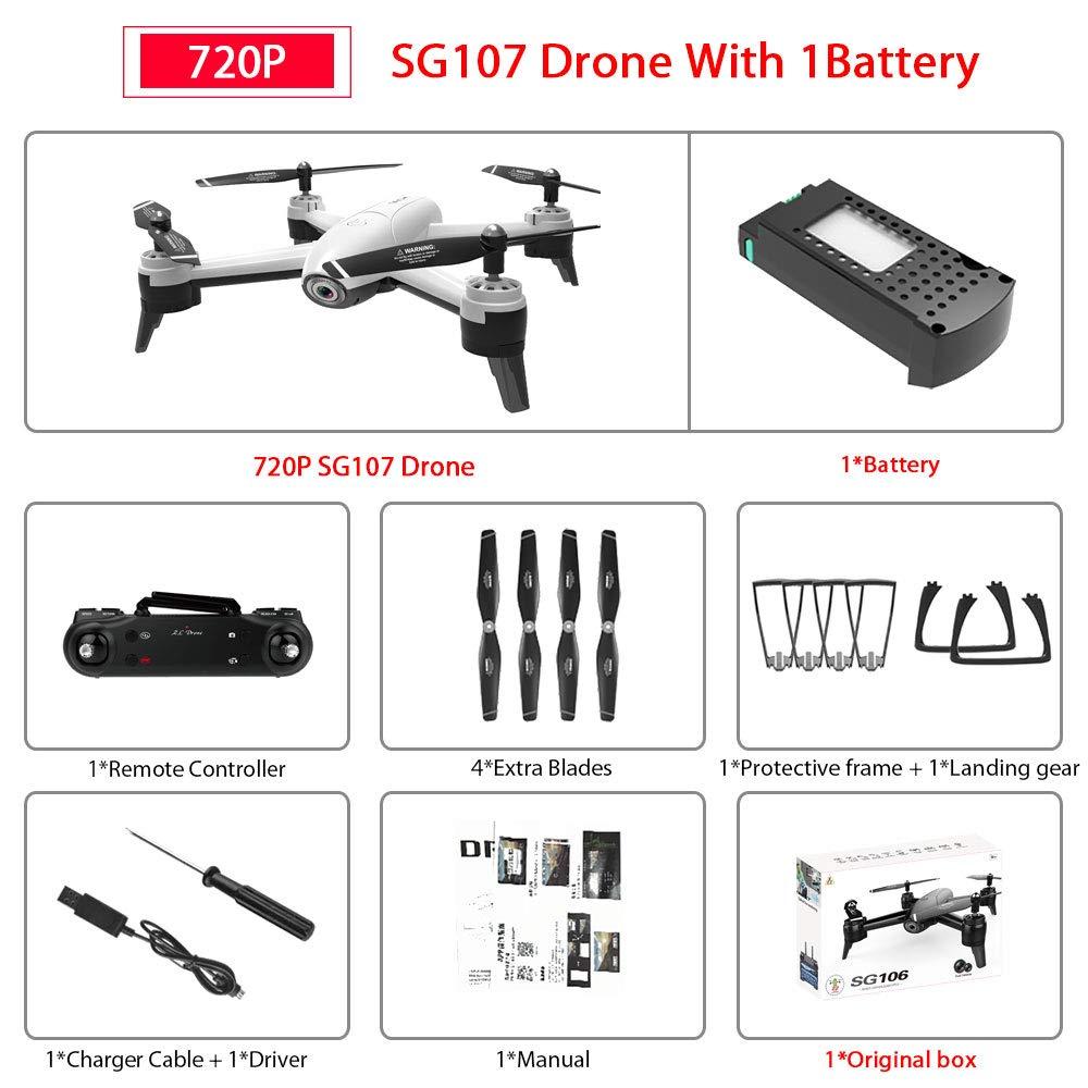 1080p blanc 1battery  ETC KART SG106 WiFi FPV RC Drone avec 720 P ou 1080 P ou 4 K HD Double caméra Optique Flux aérien vidéo RC quadrirougeor pour Jouets Enfant RC Dron (4K noir 3Battery)