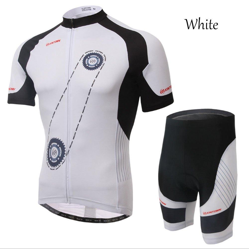 Smwsf WSF Outdoor-Sportarten Reitkleidung Kurzärmeliger Anzug Fahrradkleidung Sommersaison Feuchtigkeitstransport Kleidung Hosen, Weiß, XL