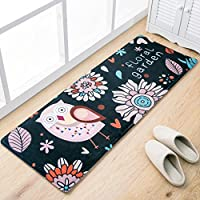 Sytian Super Soft 45X120cm Shaggy Area Rug Non-slip Door Mat Kitchen Mat Absorbent Bath Mat Bathroom Shower Rug Kids Play Mat (Cute Owl)