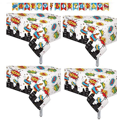 "4 Pack Superhero Plastic Table Cover 54"" x"