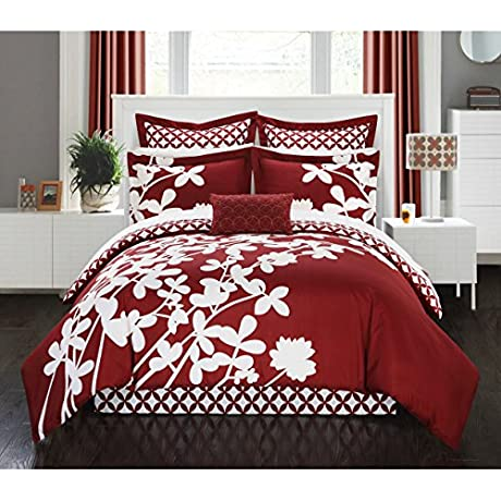 11 Piece King Country Geometrical Pattern Comforter Set Contemporary Elegant Floral Style Design Casual Embroidered Themed Diamond Print Reversible Bedding Adorable Burgundy Red White Color