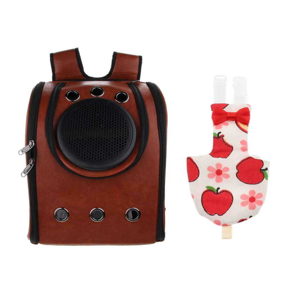 FLAMEER Parred Chocolate Carrier Capsule with Wood Standing Perch & Parred Flying Pee Pad Diaper(M)