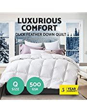 Giselle Bedding 500GSM Duck Down Quilt Cotton Cover Double-Stitched Soft Breathable Duck Down Duvet Doona Blanket for All Seasons Spring Summer Autumn Fall Winter - Queen White (95% feathers and only 5% duck down)