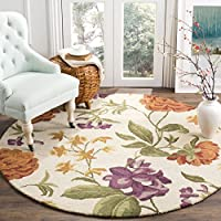 Safavieh Blossom Collection BLM788B Handmade Ivory and Multi Premium Wool Round Area Rug (6' Diameter)