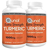 Turmeric Curcumin Softgels, Qunol with Ultra High Absorption 1000mg, Joint Support, Dietary Supplement, Extra Strength, 60 Count Twin Pack