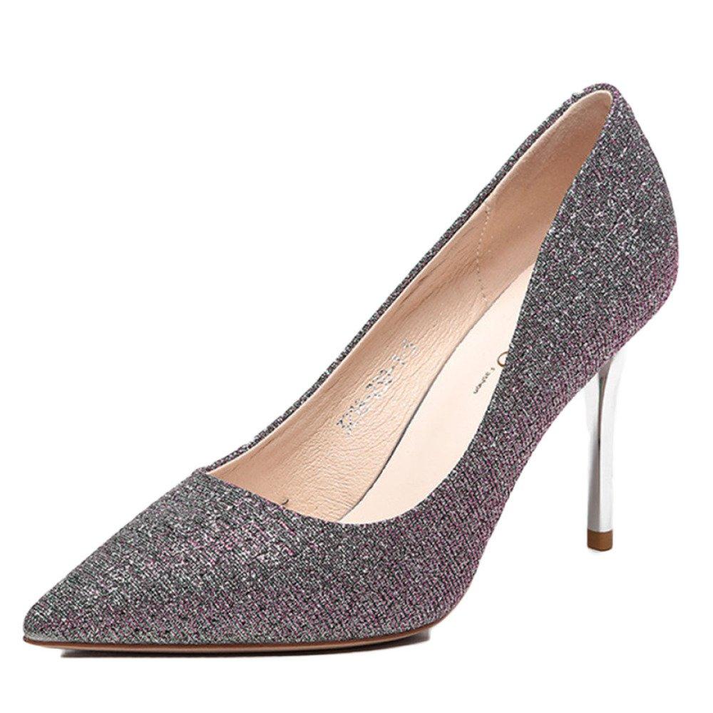 Snfgoij damen Stiletto High Heel Wies Court Schuhe Arbeiten Schuhe Sexy Spitzen Schuhe Gold Flache Pumps